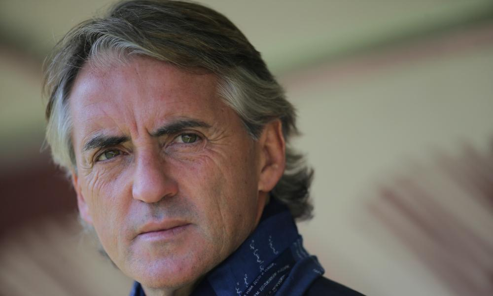 Inter boss Roberto Mancini looks on, and doesn't like what he sees.