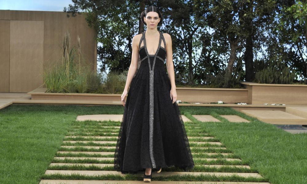 Kendall Jenner in a multi-strapped goddess gown