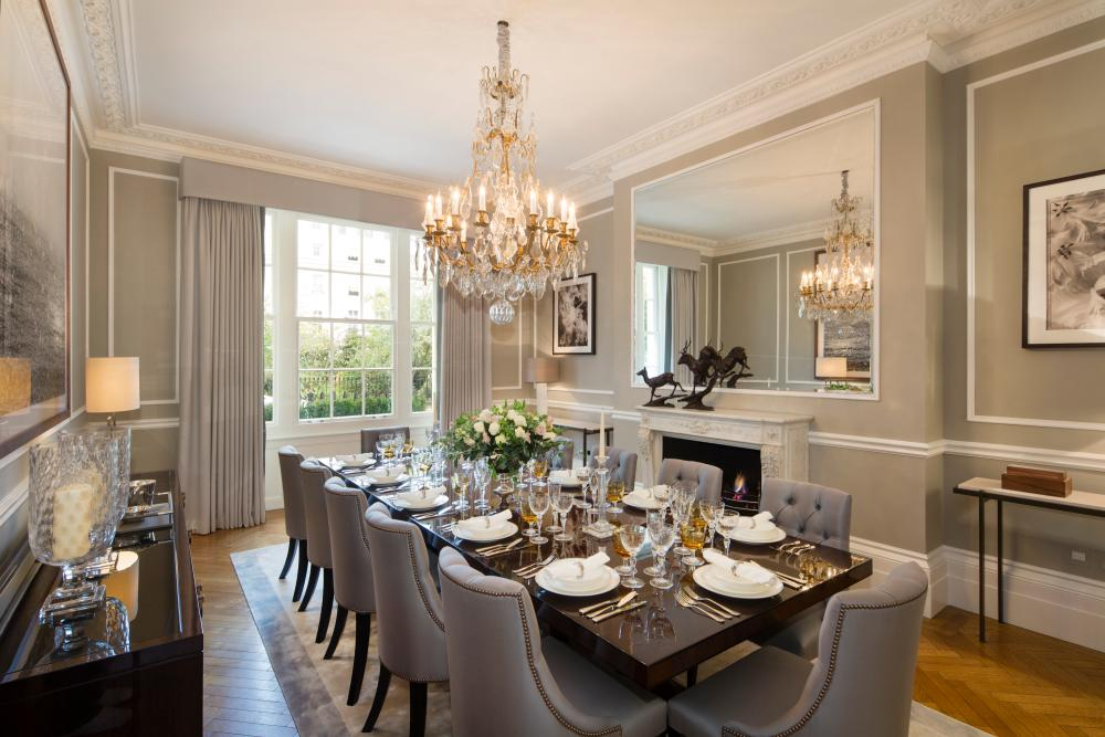 The formal dining Room at 73 Chester Square.