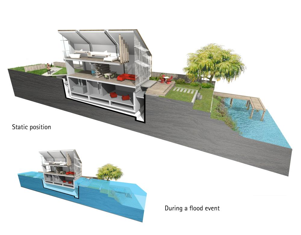 design for the floating house near Marlow, Buckinghamshire.