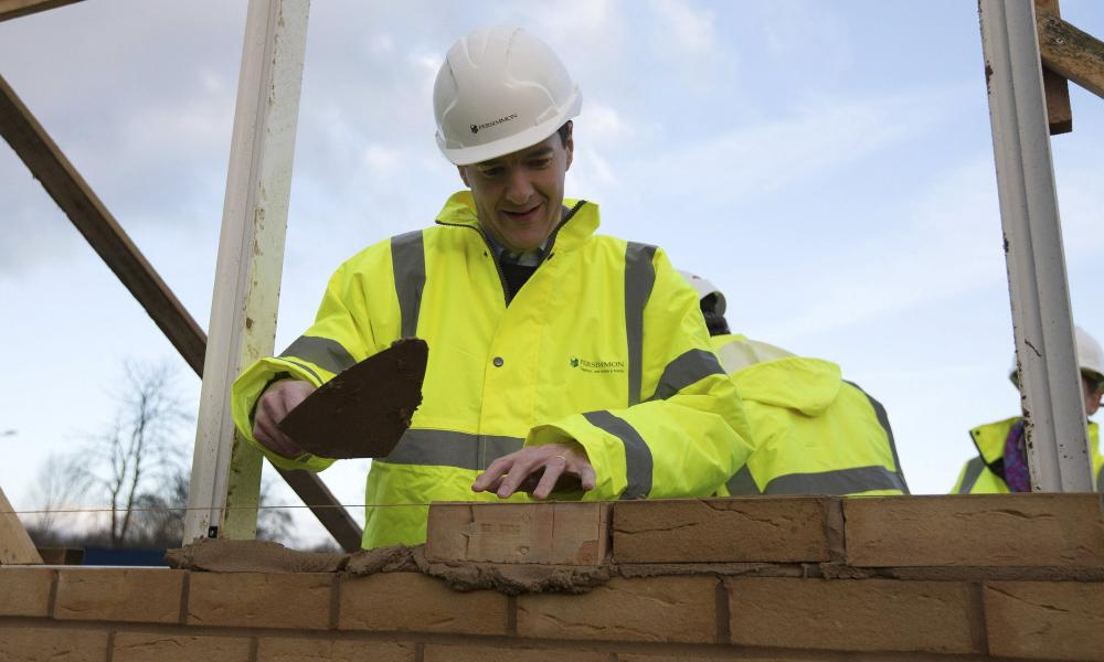 Britain's Chancellor of the Exchequer George Osborne lays a brick during a visit to a housing development in South Ockendon in Essex, Britain November 26, 2015. REUTERS/Carl Court/Pool