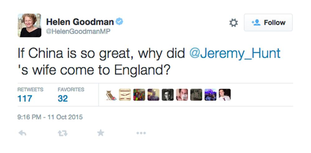 A tweet from Helen Goodman's account referring to the wife of Jeremy Hunt. She later deleted tweet and apologised.