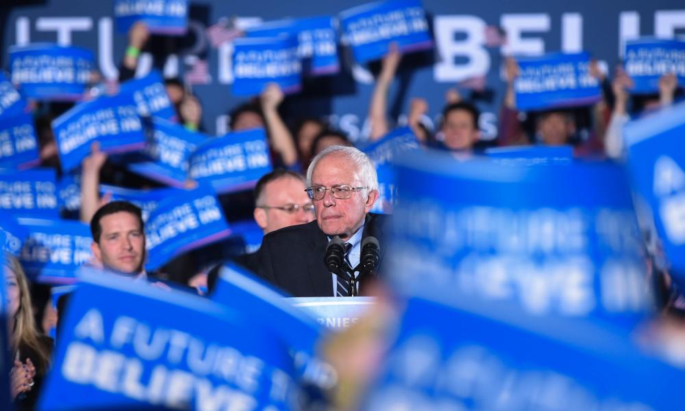 Bernie Sanders attends a primary night rally in Concord, New Hampshire.