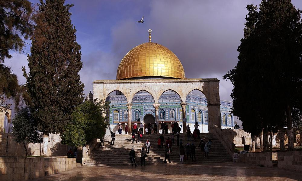 Al-Aqsa mosque compound in the Old City in Jerusalem with view of the Dome of the Rock.