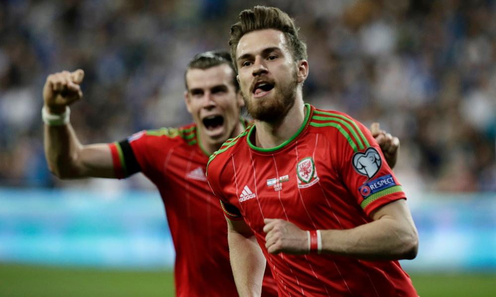 Aaron Ramsey, here celebrating with Gareth Bale after scoring in a qualifier in Israel, and his Wales colleagues need a point to reach the finals.