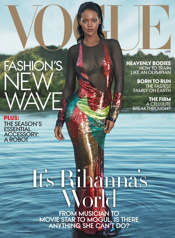 US Vogue's April 2016 edition featuring mermaid Rihanna, cover by Mert Alas and Marcus Piggott.