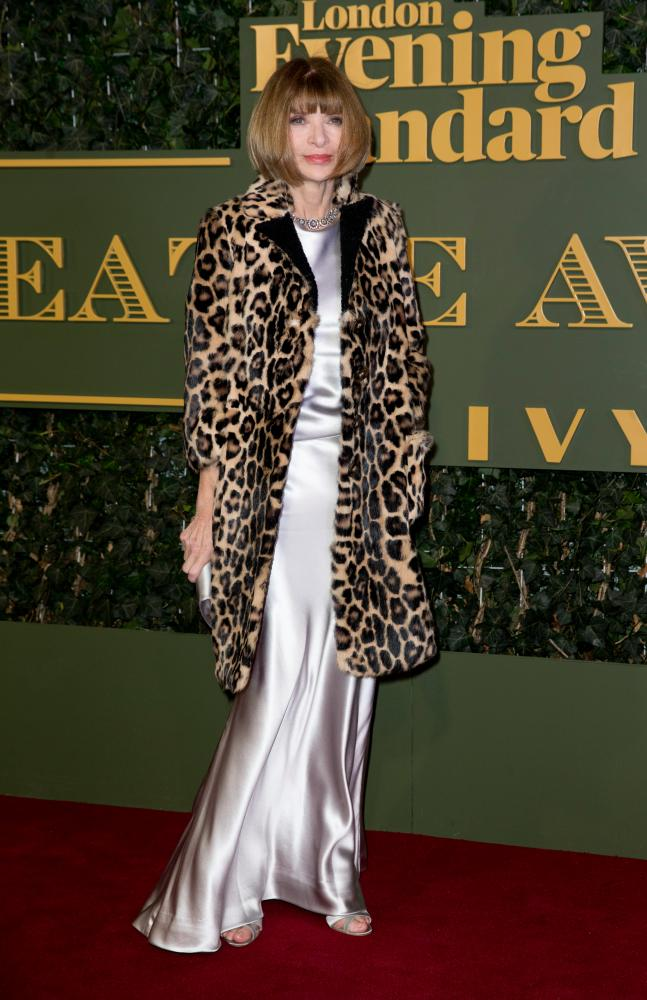 Anna Wintour at the Evening Standard theatre awards, London, November 2015.
