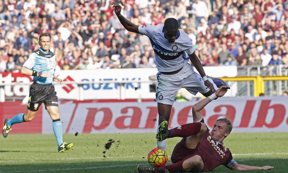 Geoffrey Kondogbia is denied by a terrific last-ditch tackle from Kamil Glik.