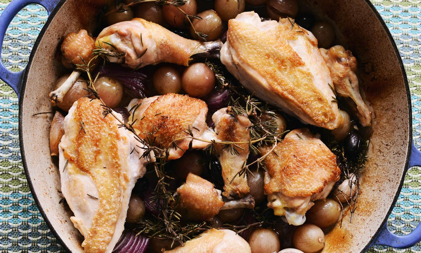 Harvest Roast Chicken With Grapes, Olives, And Rosemary Recipe ...