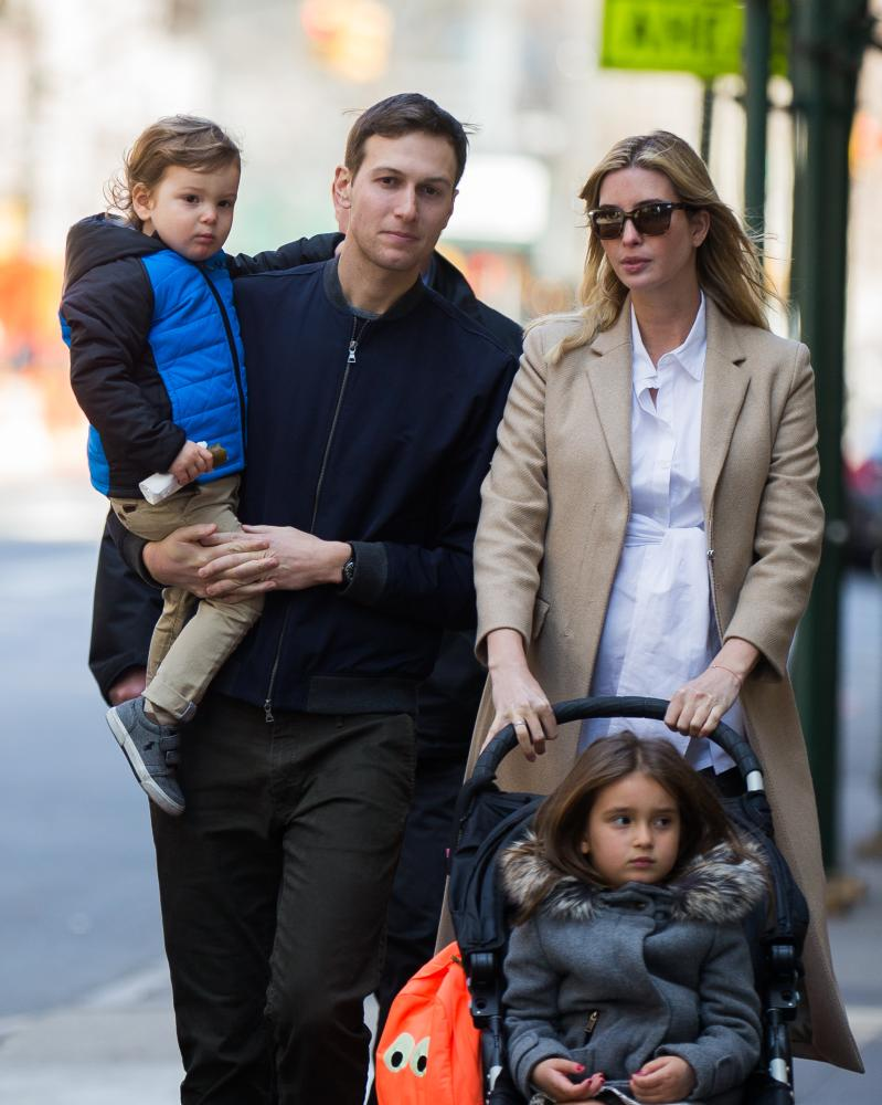 Jared Kushner and a pregnant Ivanka Trump with their children in 2016 in New York.