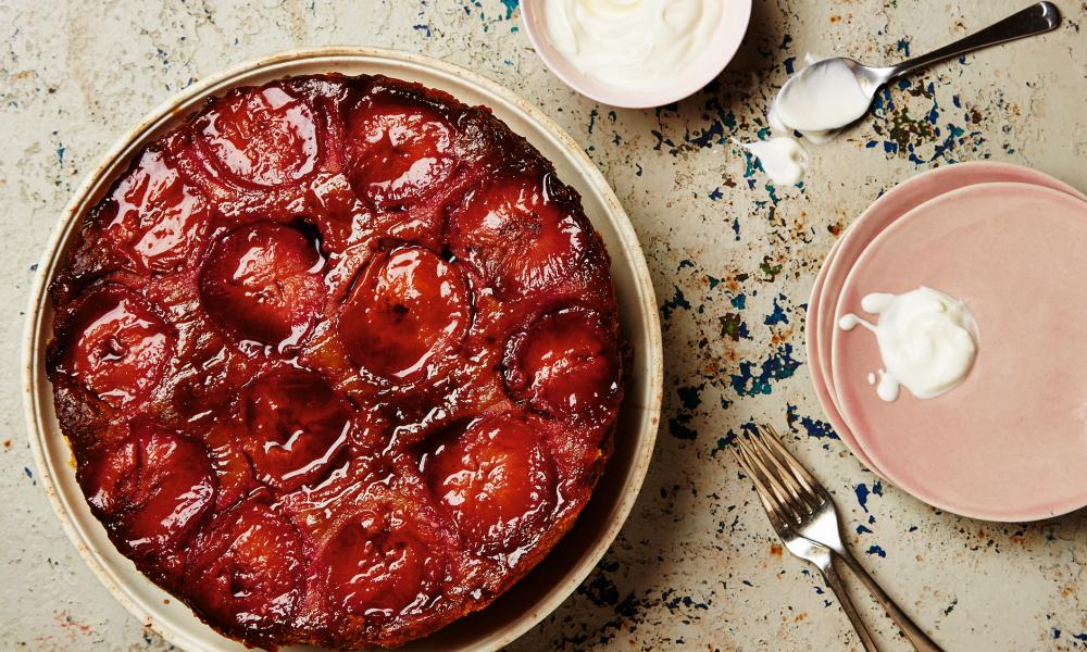 Thomasina Miers' flourless plum and vanilla upside-down cake.