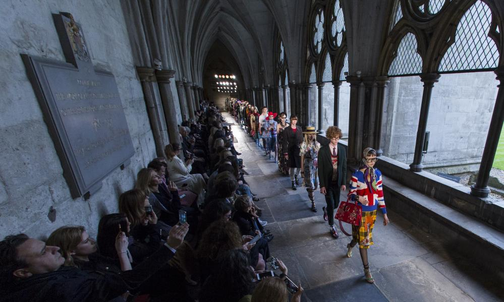 Gucci models at Westminster Abbey.