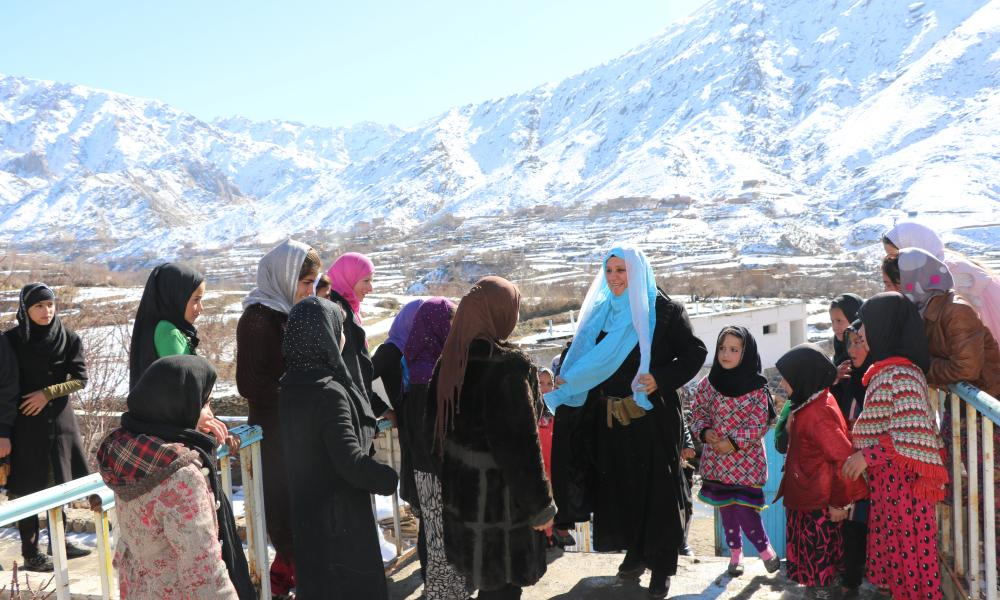 Mahboba Rawi outside a girls' school in Afghanistan run by her non-government organisation Mahboba's Promise