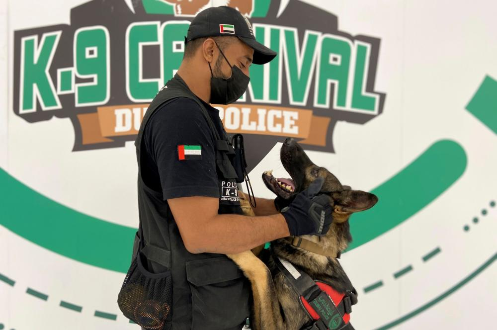 Dubai to deploy sniffer dogs to detect COVID-19 at major eventsA dog that has been trained by Dubai Police K-9 unit to sniff out COVID-19 looks at his trainer in Dubai, United Arab Emirates, September 13, 2021. Picture taken September 13, 2021. REUTERS/Abdel Hadi Ramahi