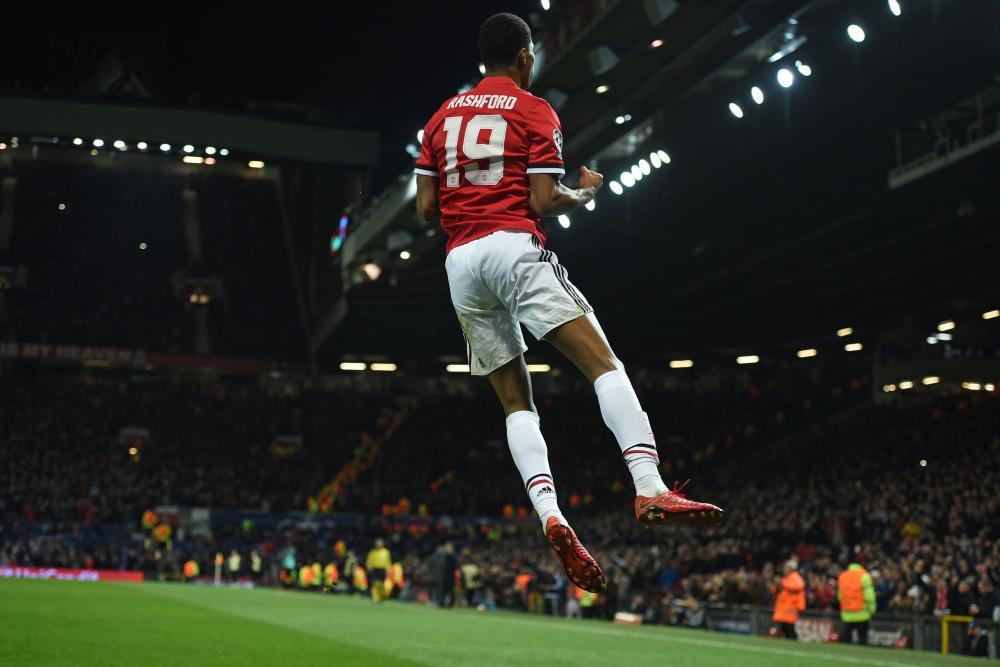 Marcus Rashford celebrates after putting United ahead.