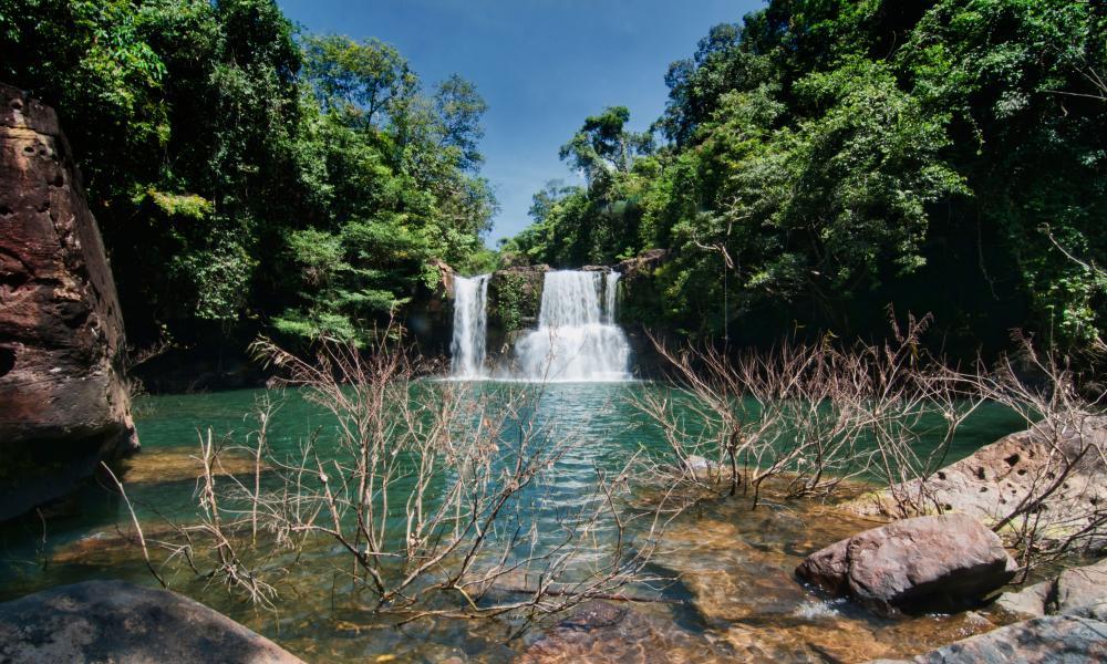 Klong Chao waterfall on Koh Kood Island, Thailand.