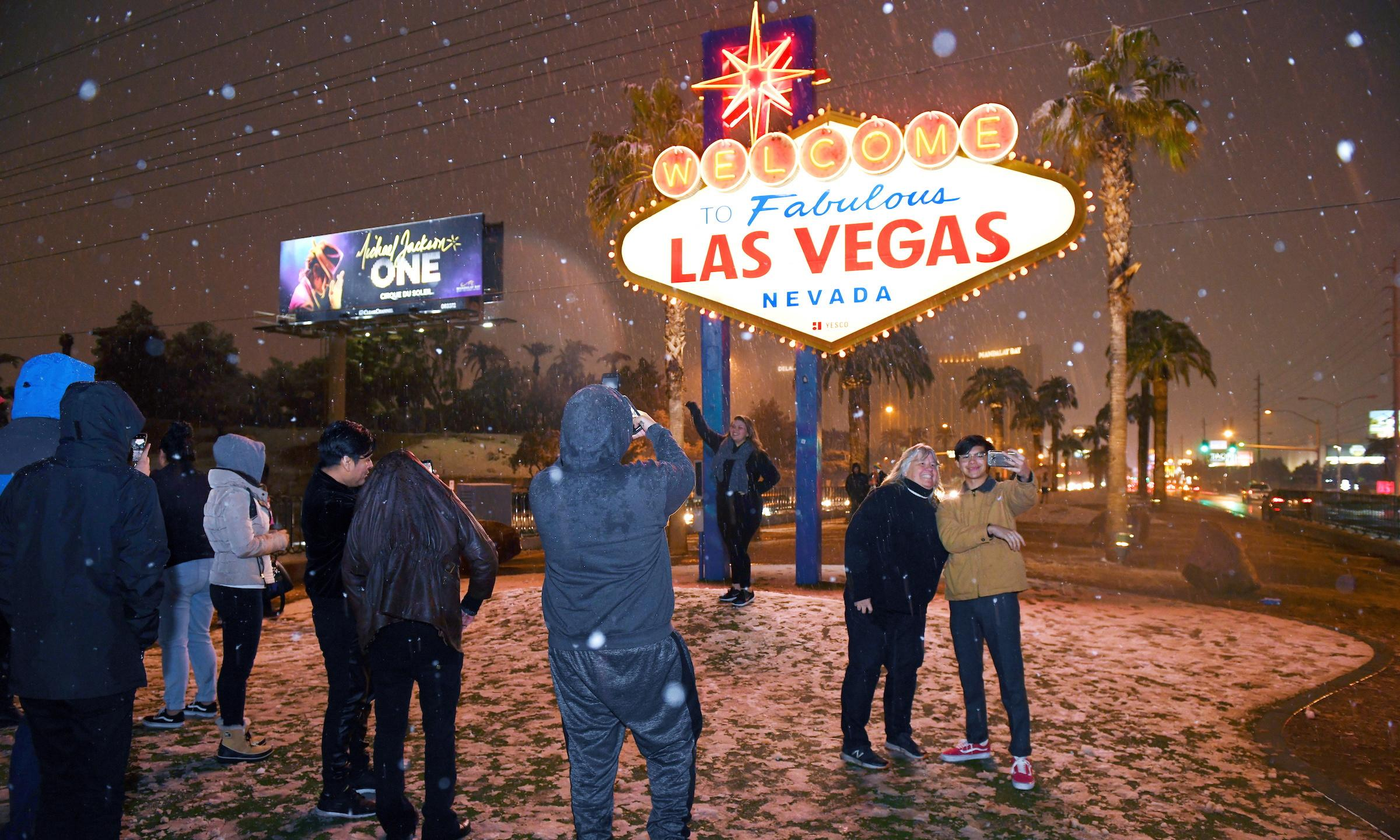 Winter storms bring rare snowfall to Las Vegas and Los Angeles