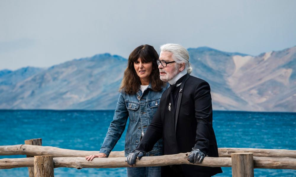 Viard with Lagerfeld last year.