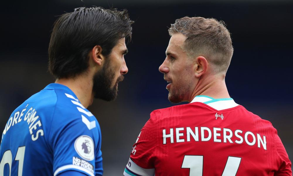 Andre Gomes clashes with Jordan Henderson