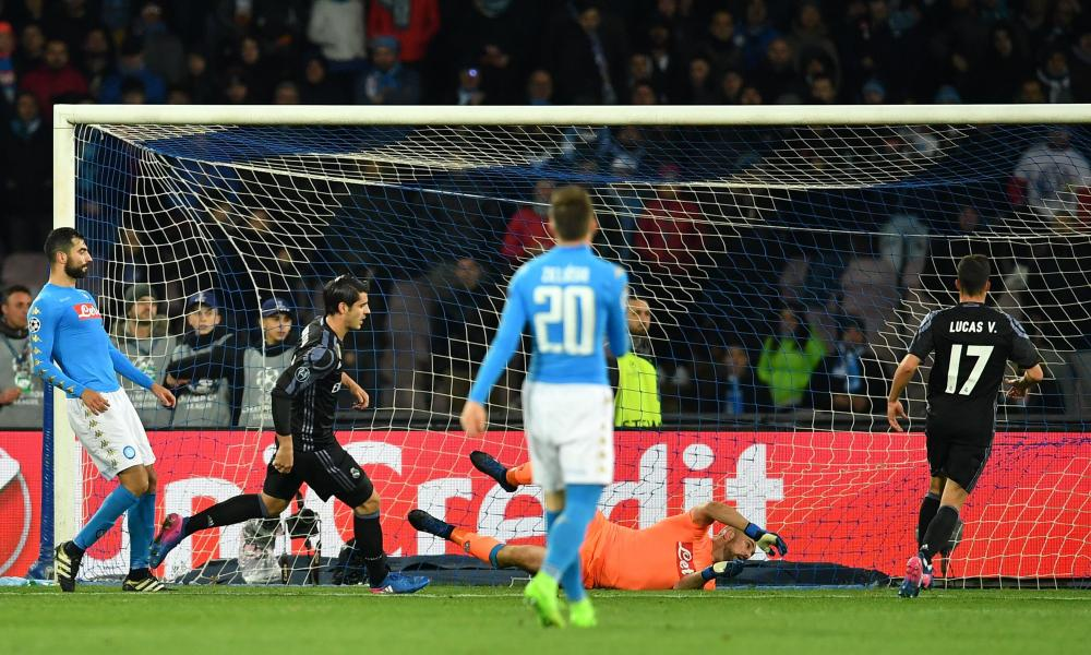 Real Madrid's Alvaro Morata, second left, wheels away in celebration after scoring.