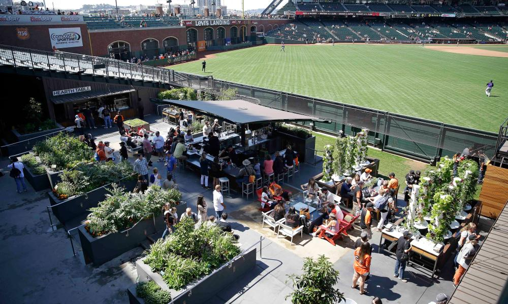 People visit the Edible Garden at AT&T Park, home of the San Francisco Giants baseball team.