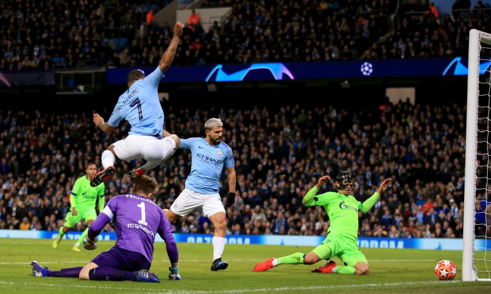 Sergio Aguero of Manchester City smacks the ball against the upright.
