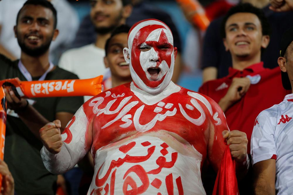 A Tunisia fan before the match.
