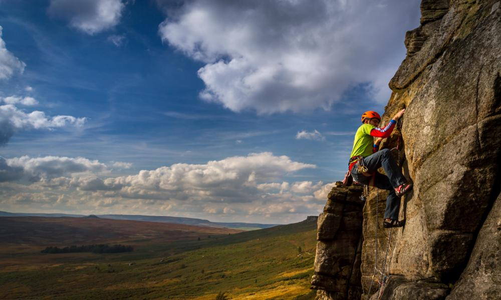 The Stretcher rock climb route at Stanage Edge, Derbyshire