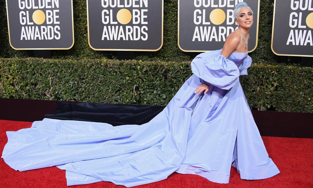 Lady Gaga opts for the fantasy gown at this year's Golden Globe awards.