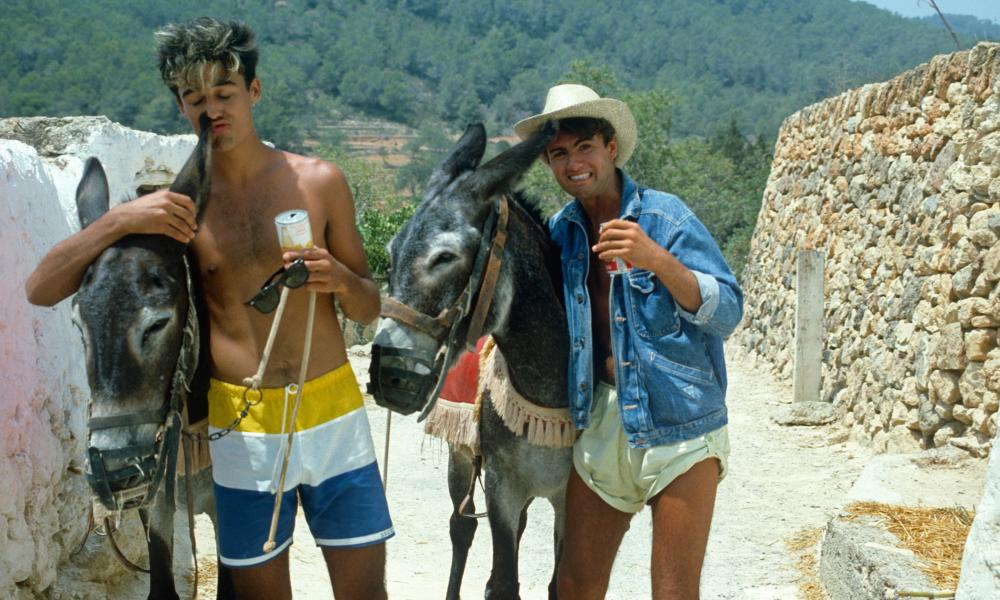 Wham! during the recording of the video for Club Tropicana at Pikes hotel in Ibiza, 1983.