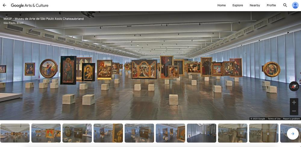 Screenshot from MASP, Sao Paulo, online virtual tour.