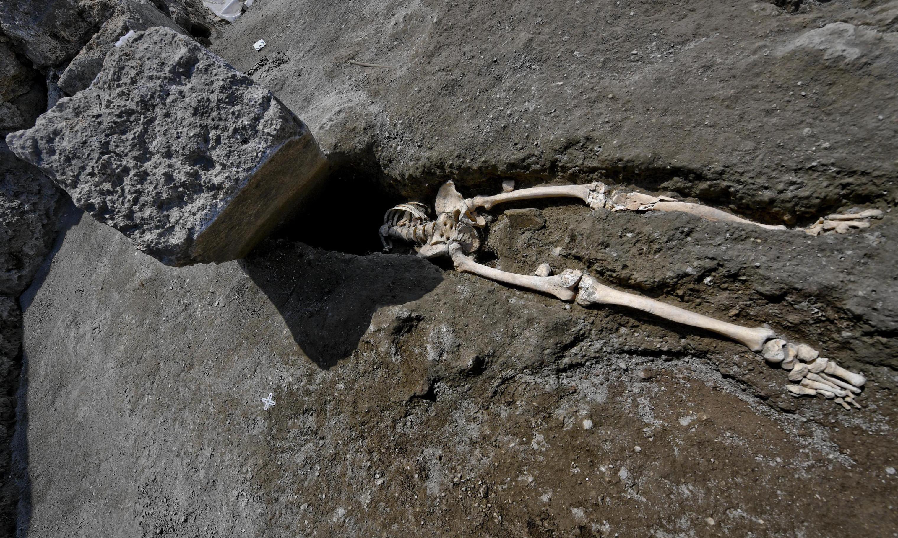 Skeleton unearthed of man crushed by huge rock in Vesuvius eruption