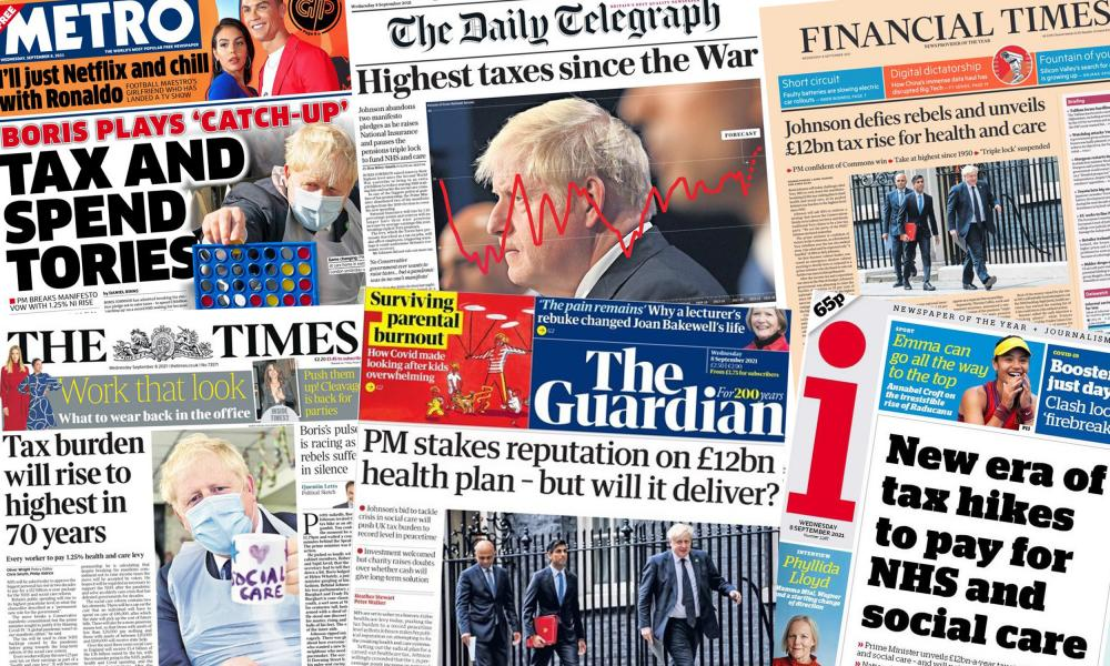 UK newspaper front pages, Wednesday 8 September 2021