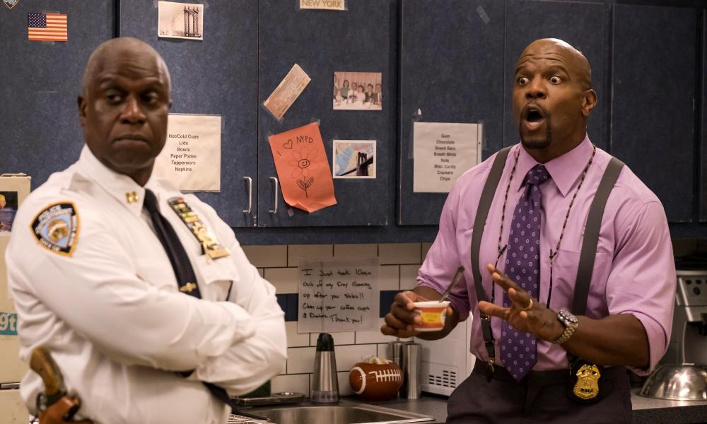 Crews with Andre Braugher in Brooklyn Nine-Nine.