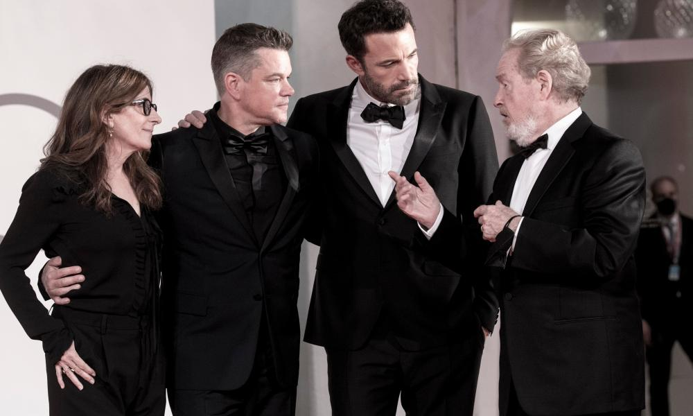 Holofcener, Damon, Affleck and Scott at The Last Duel's premiere in Venice.