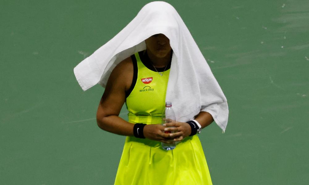 Naomi Osaka during her defeat by Leylah Fernandez at the US Open.