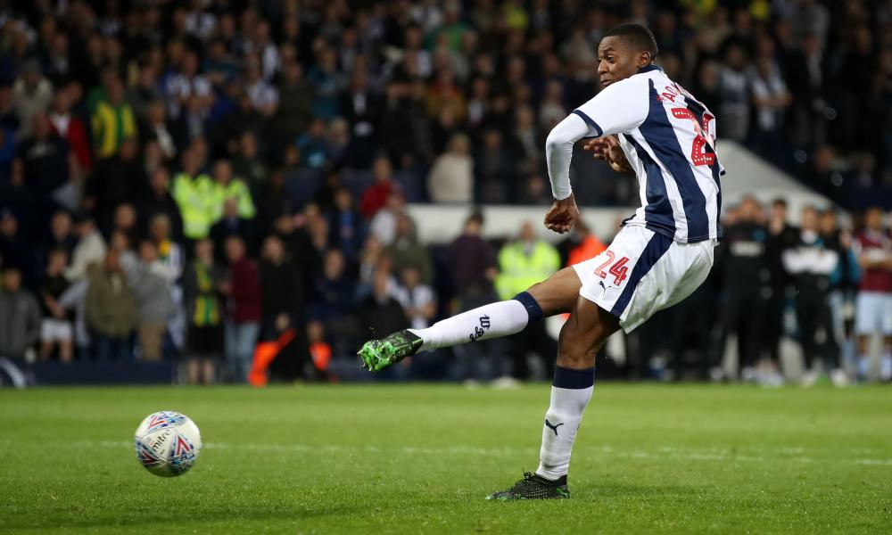 West Bromwich Albion's Tosin Adarabioyo scores his penalty.