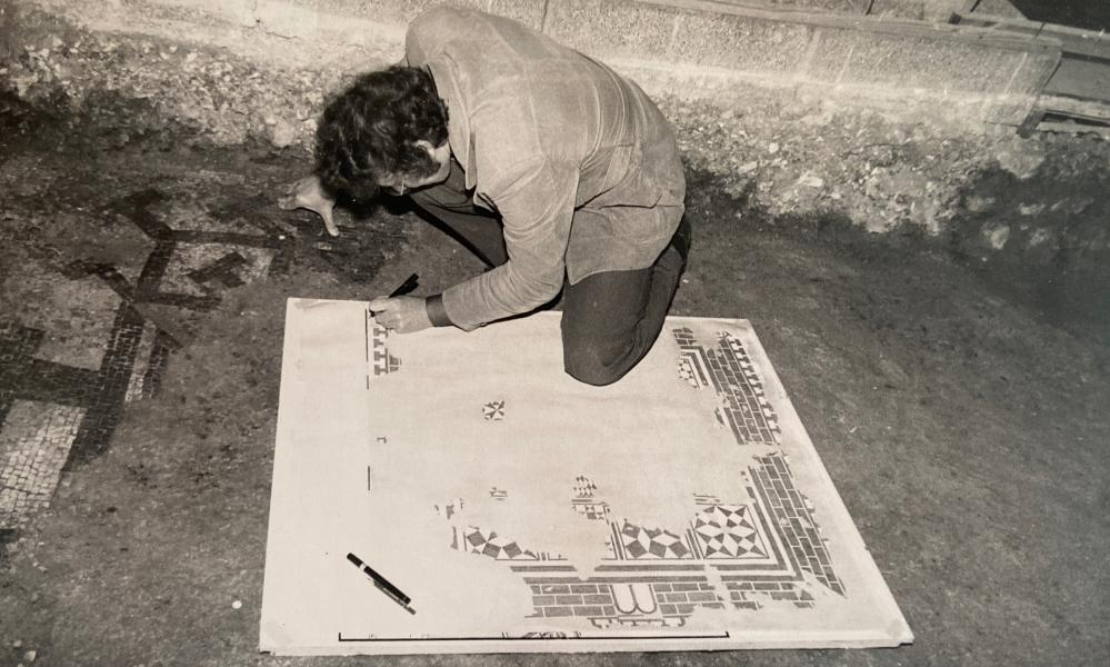"""David Rudkin making a pen-and-ink drawing of the """"Fortress"""" mosaic at Fishbourne Roman palace in West Sussex"""