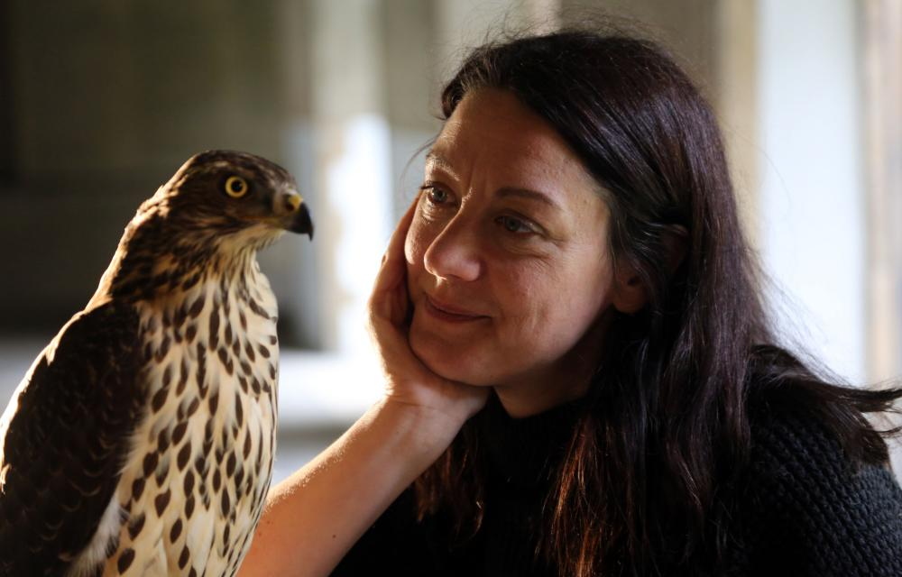 Helen Macdonald with Lupin the goshawk in H is for Hawk: A New Chapter.