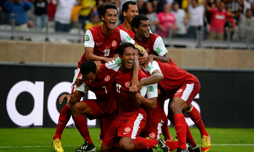 Jonathan Tehau of Tahiti, No 17, celebrates after scoring against Nigeria in the 2013 Confederations Cup.