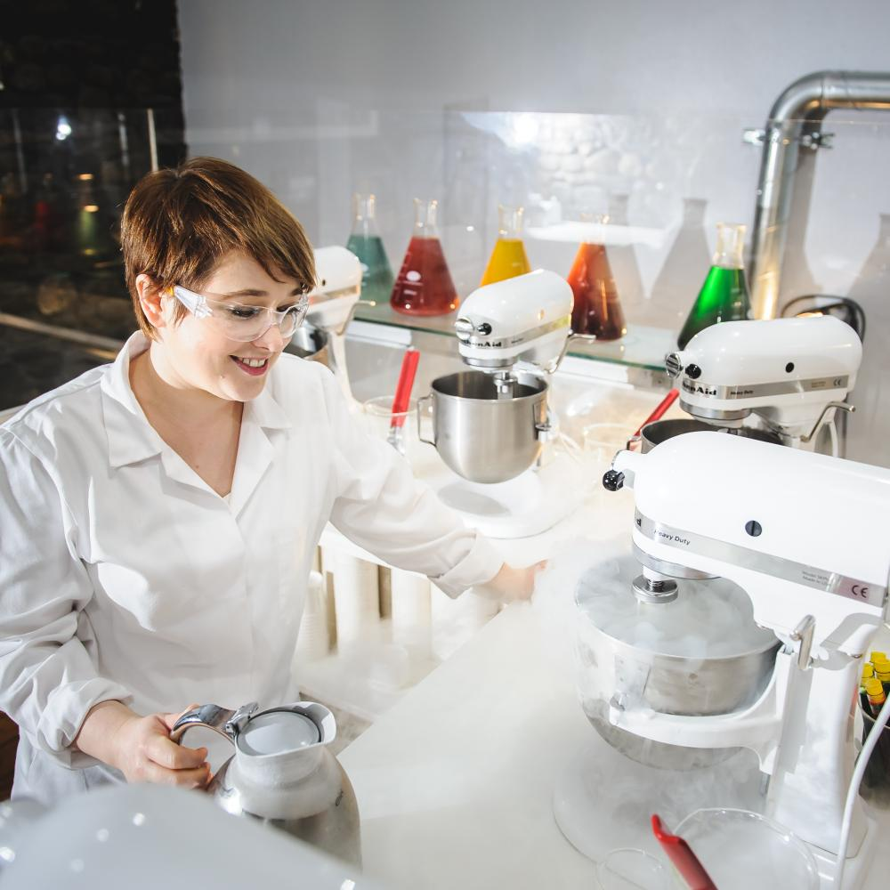 Using liquid nitrogen to freeze ice cream at Science Cream in Cardiff