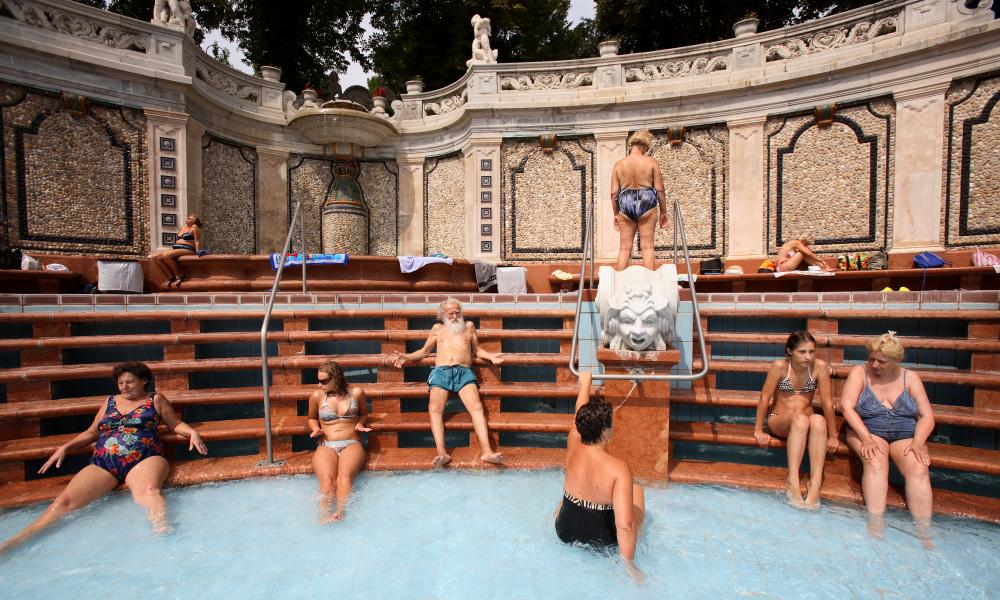 People soaking in the waters of the The Gellert Baths.
