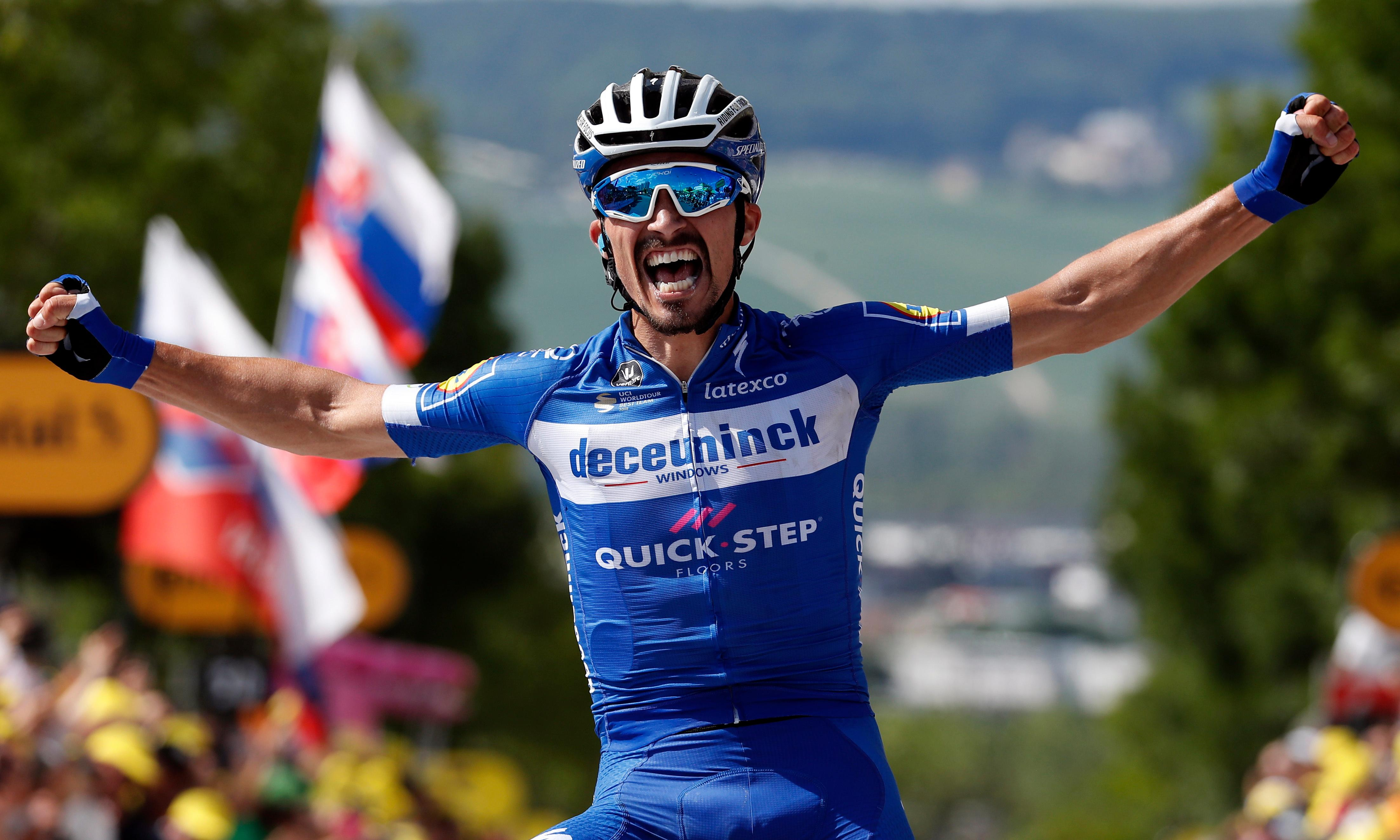 Tour de France: Julian Alaphilippe wins stage three to take yellow jersey