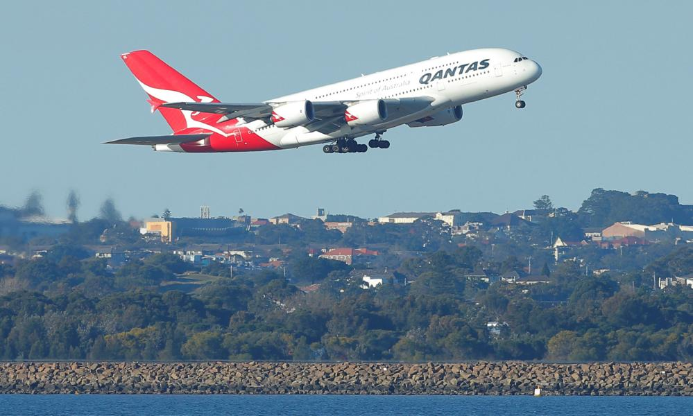 File photo of a Qantas plane taking off from Sydney airport