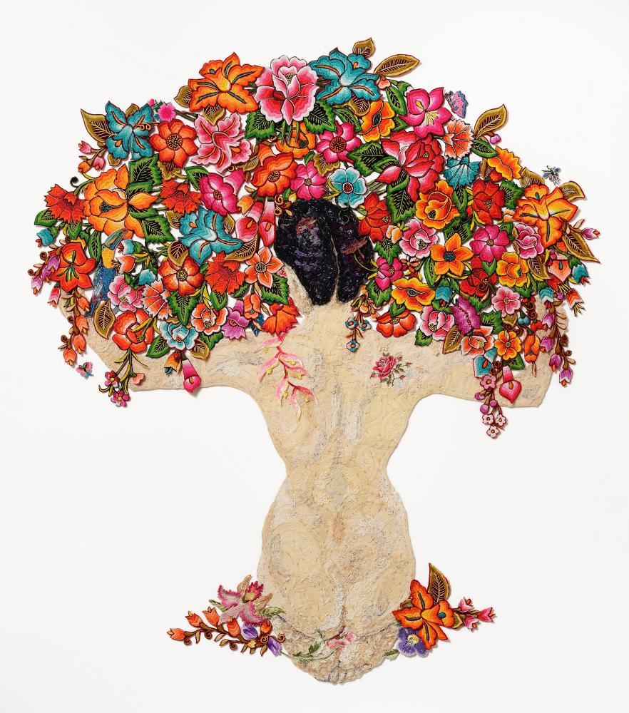 Louise Saxton's Rivera-inspired artwork, Desnuda y Flores 2015 after Diego Rivera 1944.