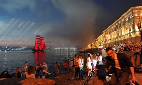 A vintage ship sails on the Neva river during the Scarlet Sails festival, which marks graduation day for Russian high school students