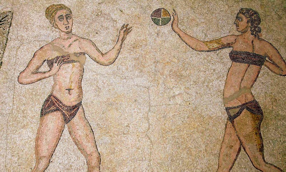 Mosaic in Piazza Armerina, Villa Romana del Casale, Sicily, 300–400 AD