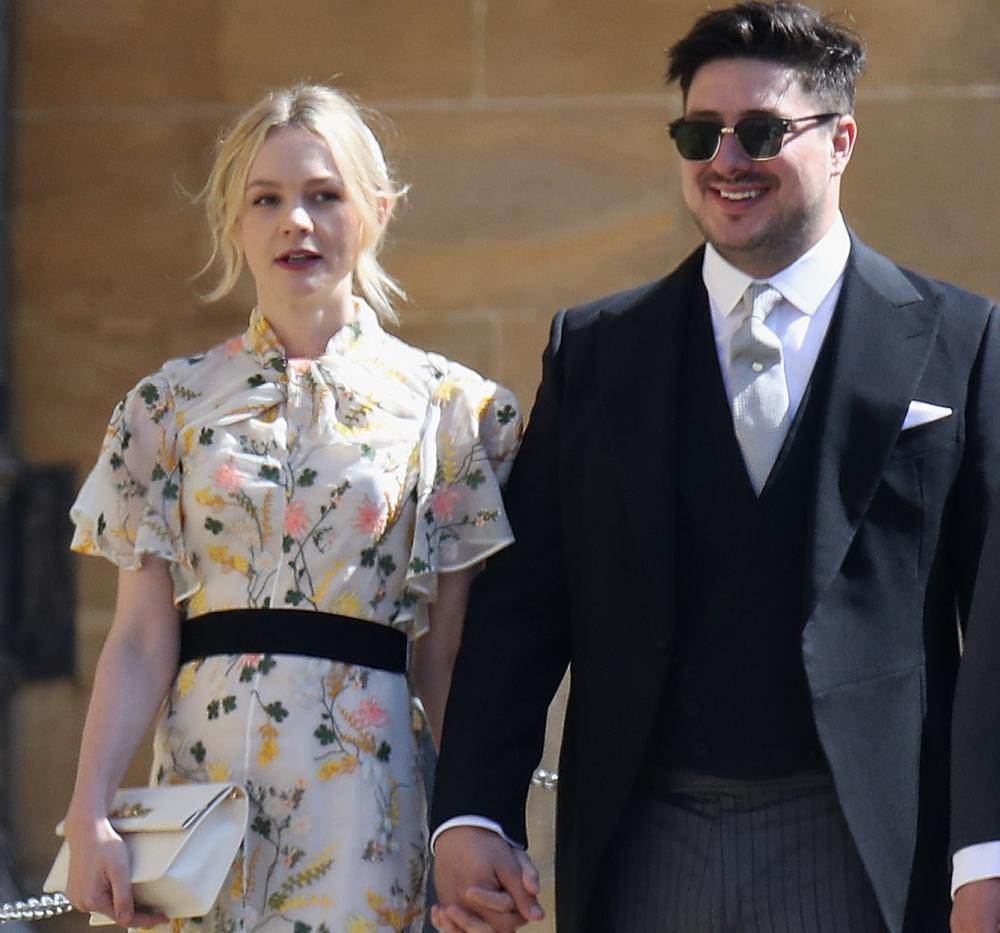 Carey Mulligan, in Erdem, and Marcus Mumford arrive for the royal wedding.