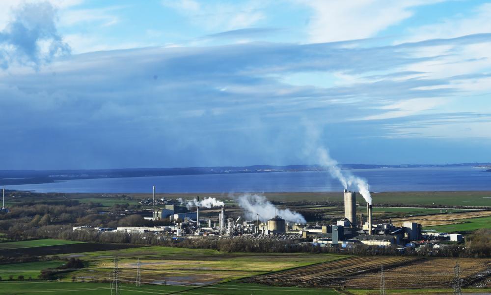 CF Fertilisers UK Ltd factory is seen next to Frodsham Wind Farm from Helsby Hill, Cheshire