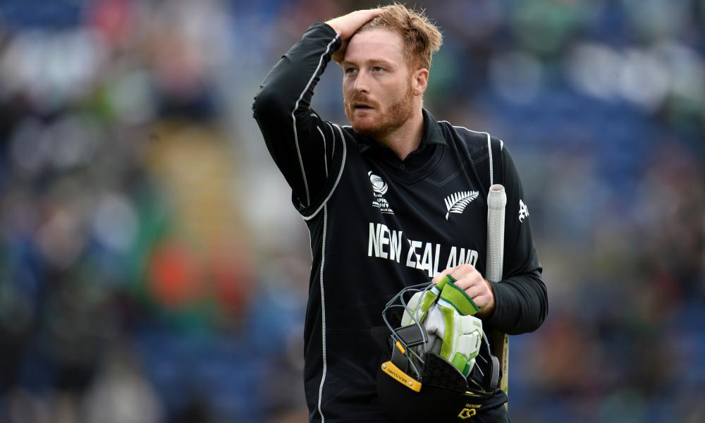 A disappointed Martin Guptill walks off after being dismissed.